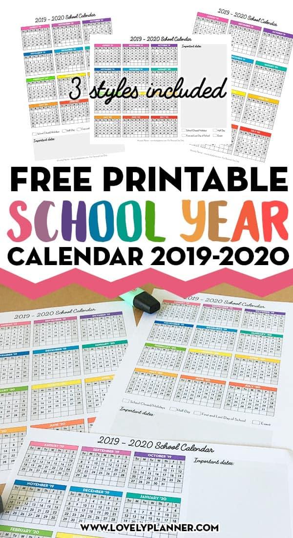 Free Printable 2019-2020 One Page School Calendar Printable