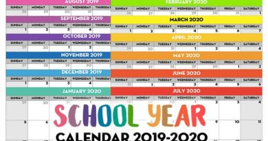 Free Printable School Year Calendar - Monthly Pages 2019/2020