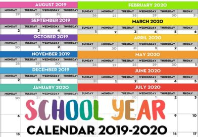 Free Printable School Year Calendar – Monthly Pages 2019/2020
