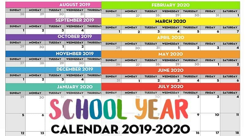 Free Printable 2020 Monthly Calendar.Free Printable School Year Calendar Monthly Pages 2019 2020
