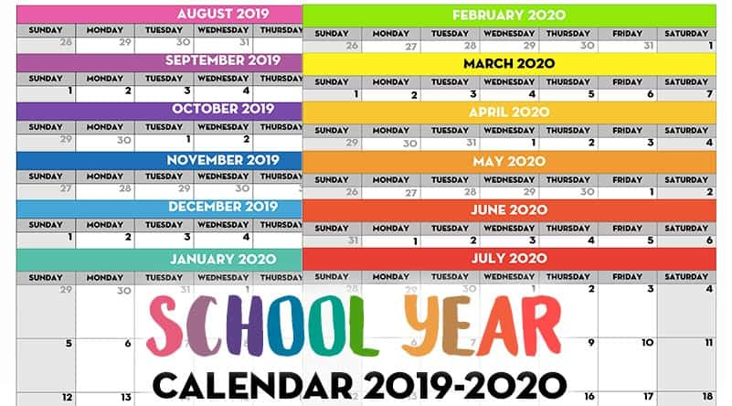 image regarding Printable School Year Calendar called Cost-free Printable College Calendar year Calendar - Every month Webpages 2019