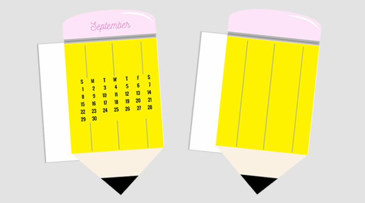Pencil Calendar Divider / Die-Cut