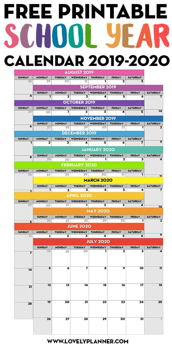 photo regarding Printable School Year Calendar identified as Cost-free Printable Faculty Calendar year Calendar - Regular Webpages 2019