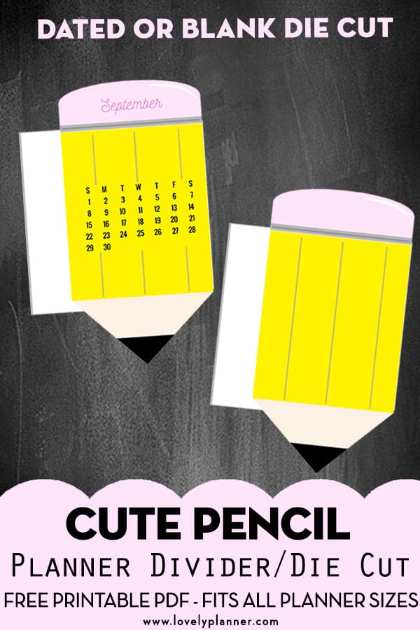 Free Printable Planner Divider: Pencil