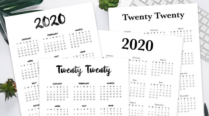 image relating to 2020 Calendar Printable identified as Cost-free 2020 Calendar Printable A single Webpage - Attractive Planner