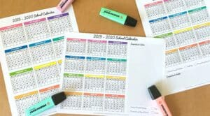 One Page School Calendar Free Printable - for School Year 2019-2020