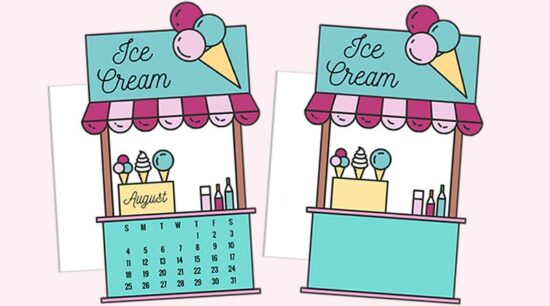 Free Printable Ice Cream Booth Calendar Divider