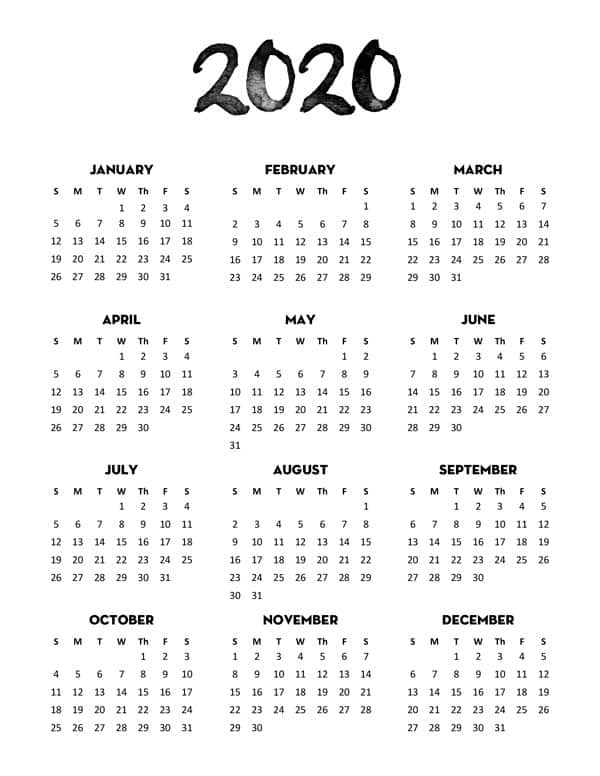 graphic relating to Free Printable 2020 Calendar named Cost-free 2020 Calendar Printable One particular Web page - Stunning Planner