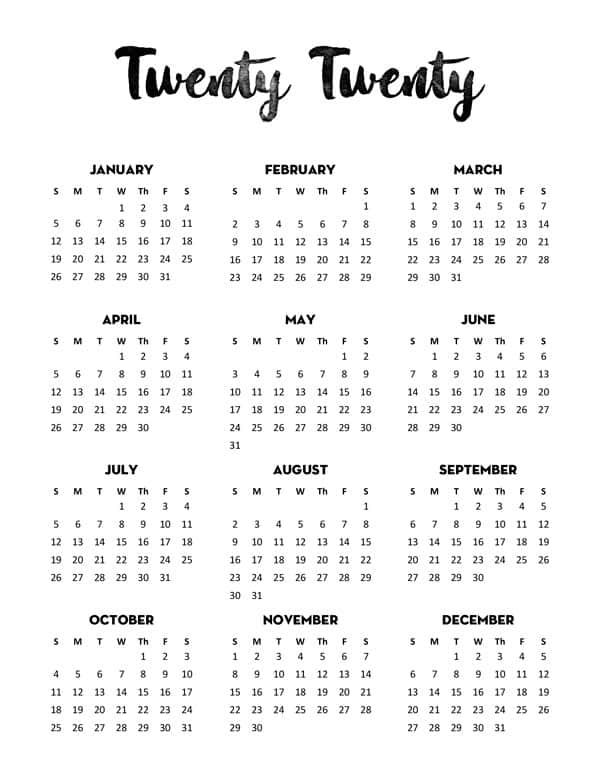 2020 Printable Yearly Calendar.Free 2020 Calendar Printable One Page Lovely Planner