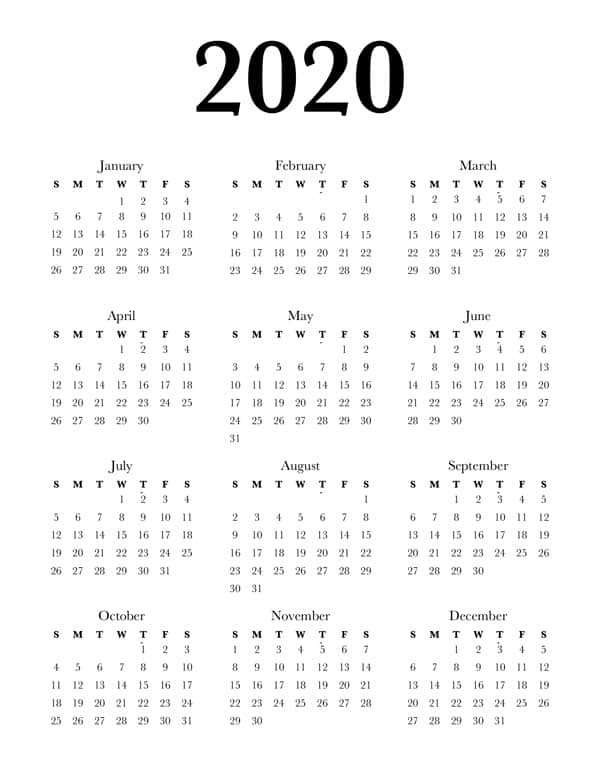 image regarding Printable Calendar on One Page named Totally free 2020 Calendar Printable One particular Web page - Gorgeous Planner
