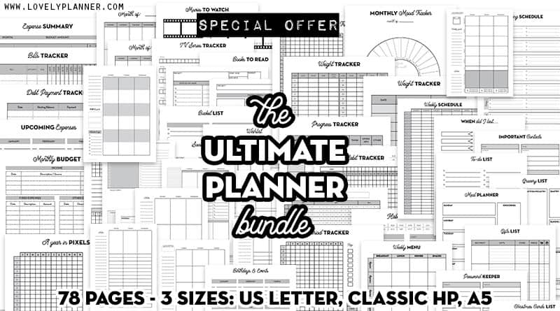 sale the ultimate planner bundle - printable planner inserts