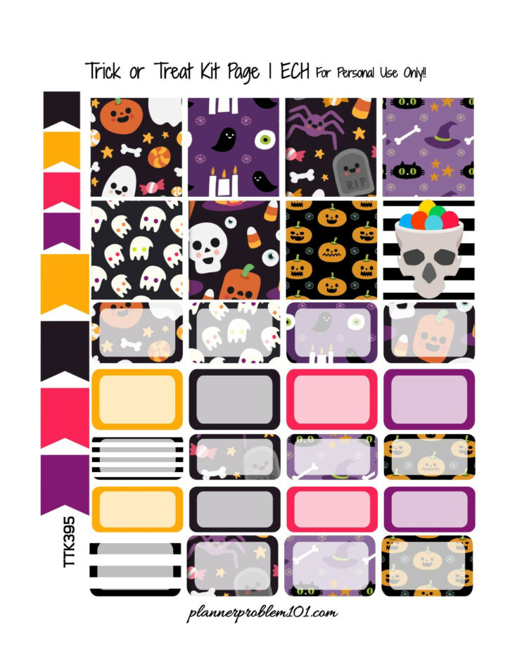 Trick or Treat KIT - Free Printable Planner Stickers