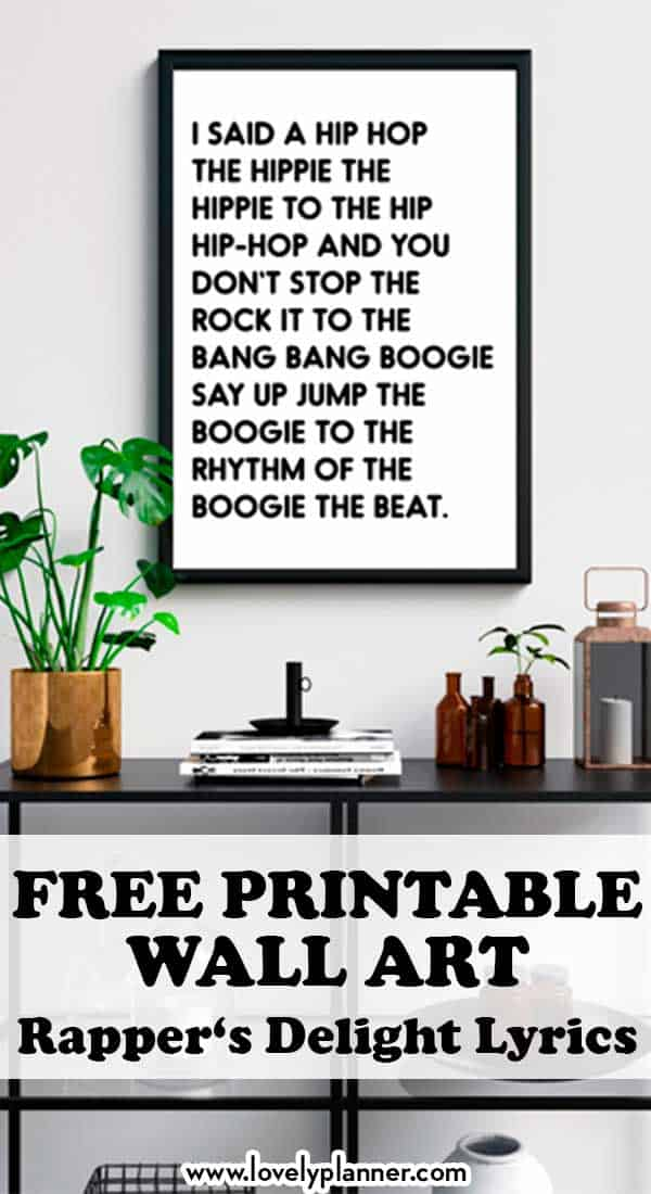 Free Printable Rappers Delight Lyrics Sign Hip Hop