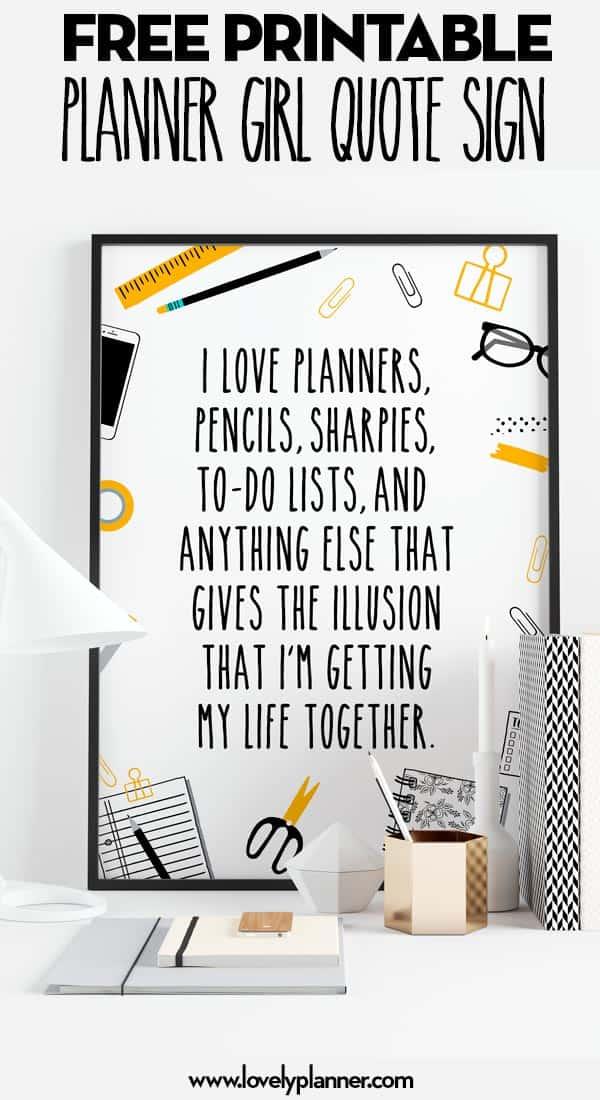 Free Printable Planner Girl Sign/Divider