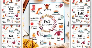 Free Fall Favorites Printable