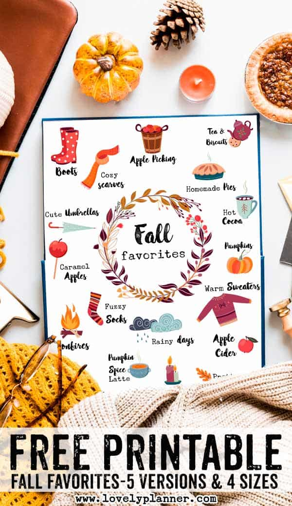 Free Fall Favorites Fall Printable