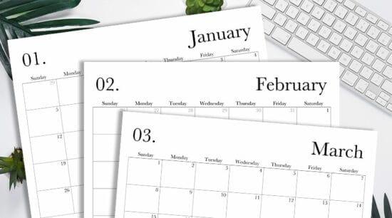 2020 calendar free printable monthly template