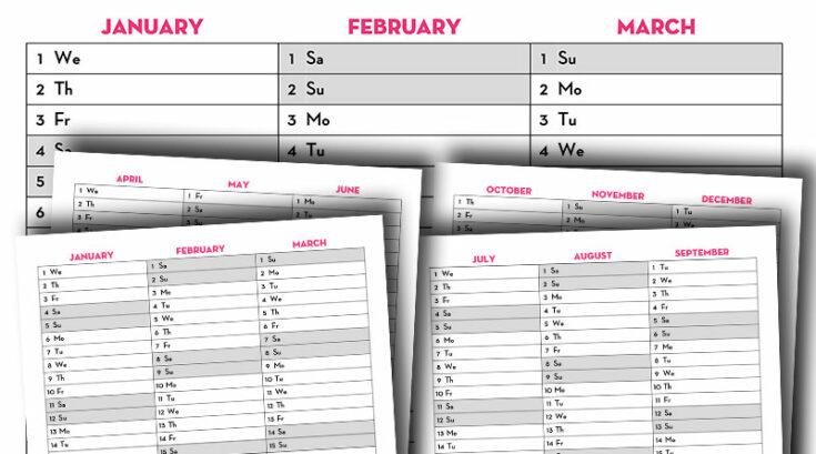 Free Printable 2020 Quarterly Calendar - Calendex Style