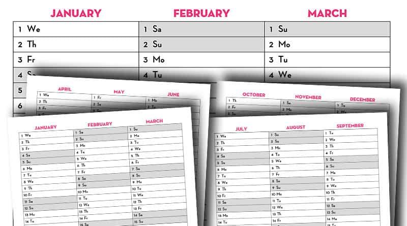 Home Management Binder Free Printables 2020.Free Printable 2020 Quarterly Calendar Calendex Style