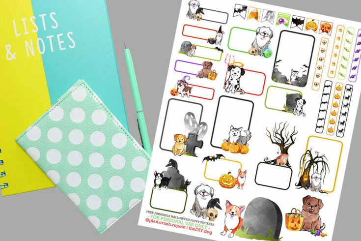 Free Printable Halloween Planner Stickers for Dog Lovers