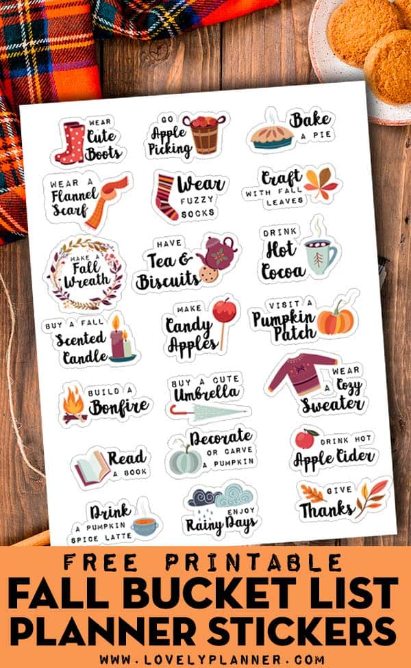Free Printable Fall Bucket List Planner Stickers