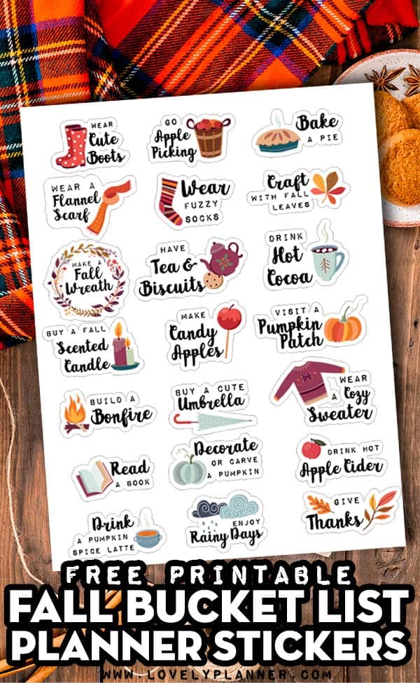 Free Printable Fall Favorites Planner Stickers