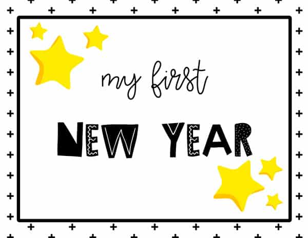 My first New Year Sign Free Printable