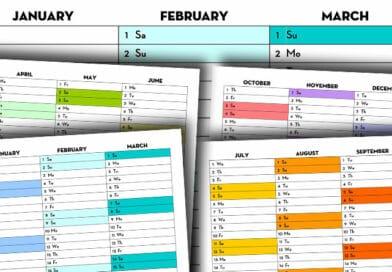 Free Printable 2020 Quarterly Calendar - Calendex Rainbow