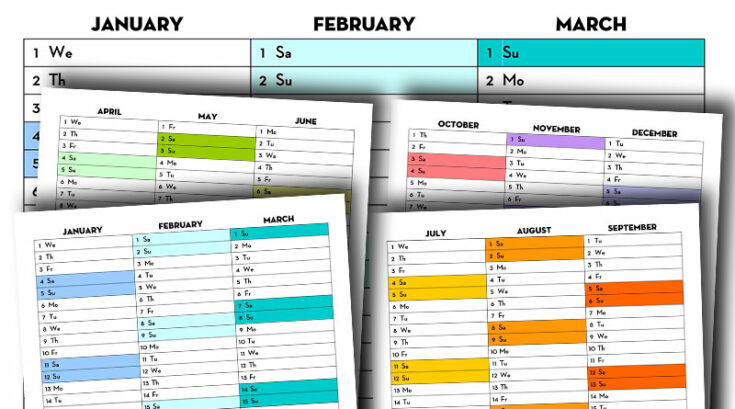Free Printable 2020 Quarterly Calendar - Calendex Style / Rainbow