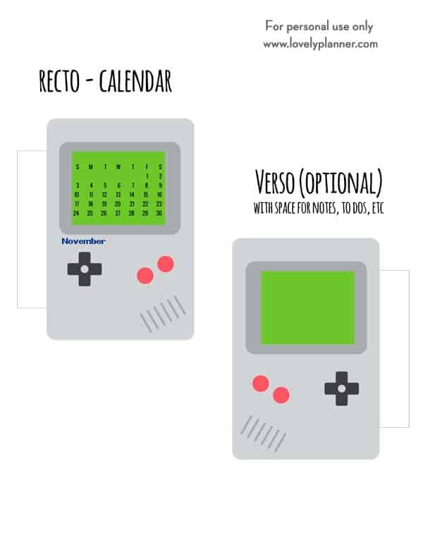 free printable retro video game planner divider