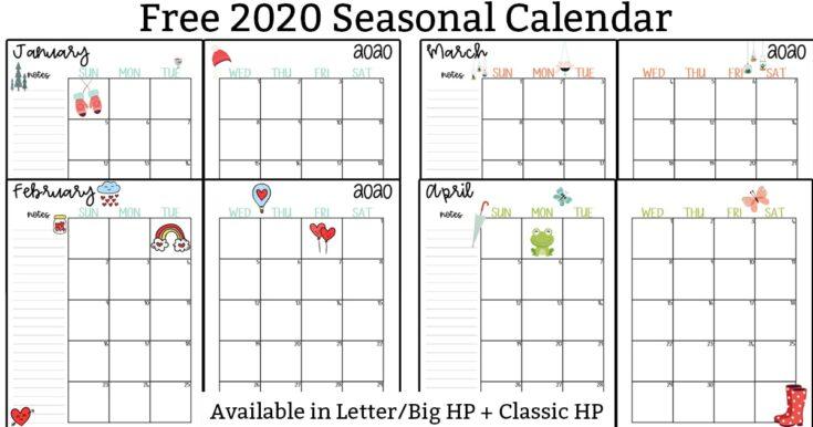 2020 Calendar Printable – Free Printable 2020 Monthly Calendar