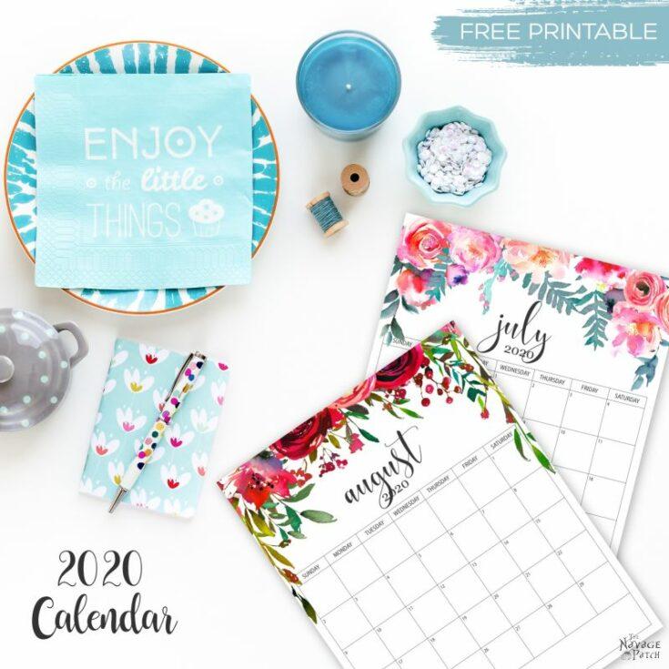 Free Printable Floral Calendar 2020