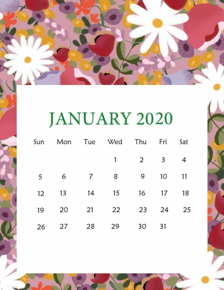 Free Printable 2020 Calendar with cute patterns