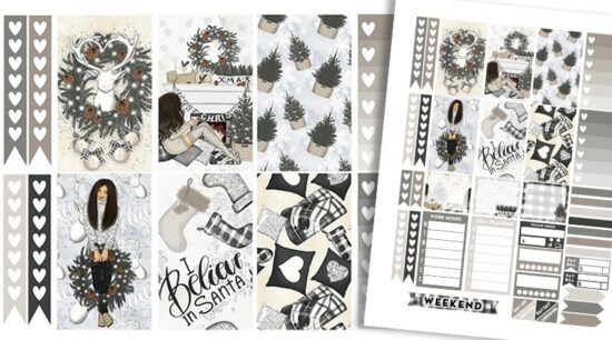 Free Printable Neutral Christmas Planner Stickers Weekly Kit