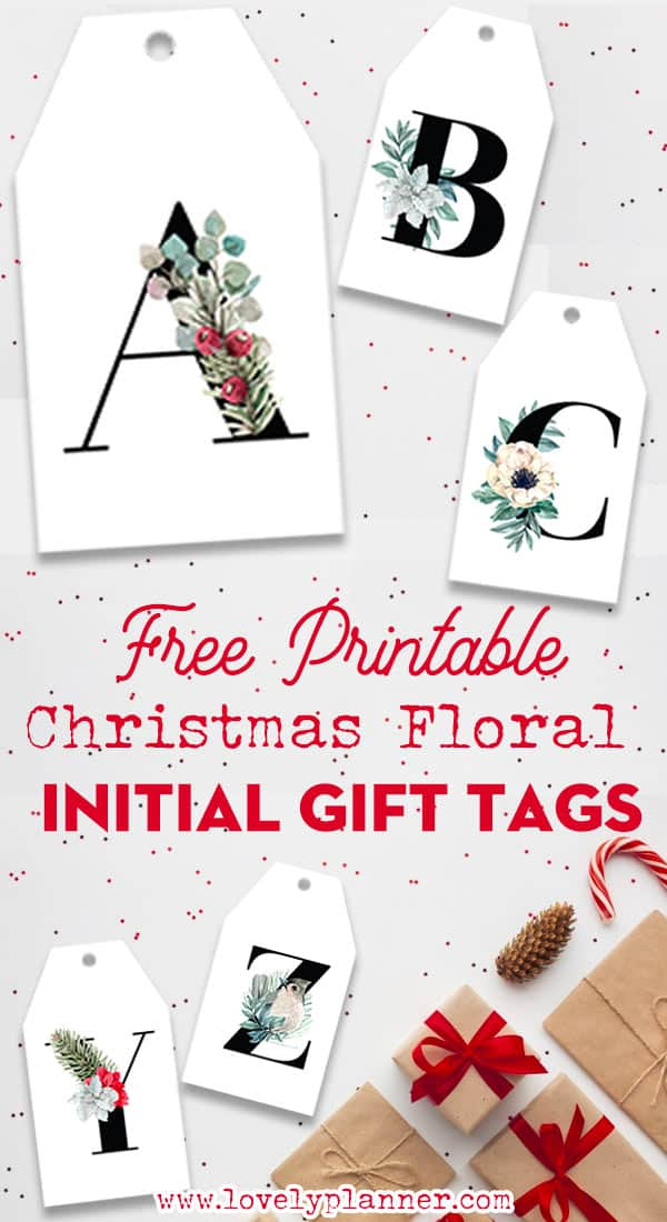 Free Printable Christmas Initial Gift Tags Floral Letters