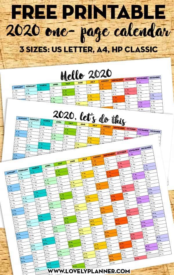 Free Printable 2020 Calendar One Page Printable Rainbow