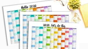 Free Printable 2020 One Page Calendar Rainbow Template