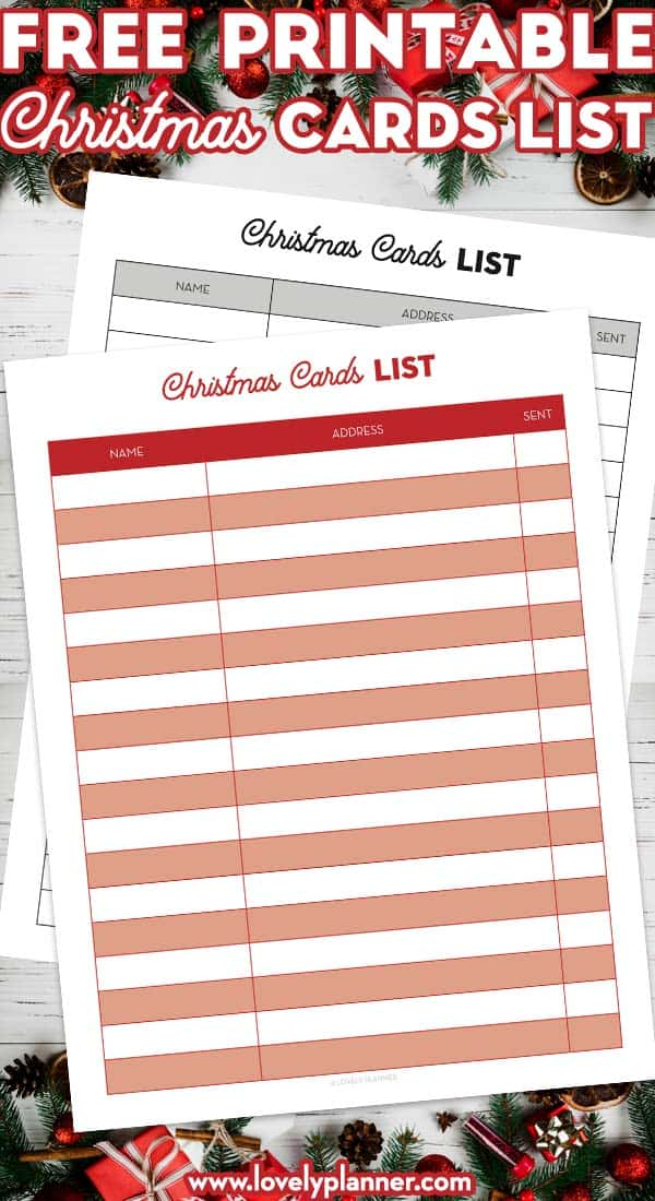 free printable christmas cards list