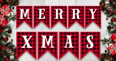 Free Printable Buffalo Plaid Christmas Banner Letters
