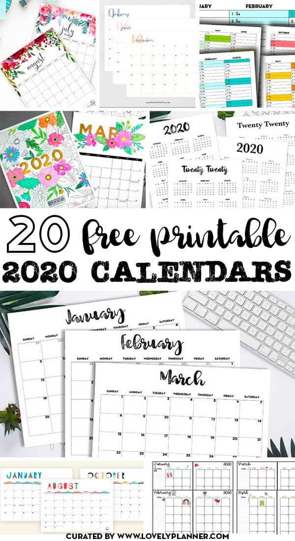 20 free printable 2020 calendars