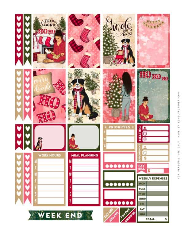 Girly Christmas Planner Stickers Weekly Kit Free Printable
