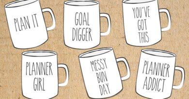 Free Printable Mugs Planner Die Cuts - Rae Dunn Inspired
