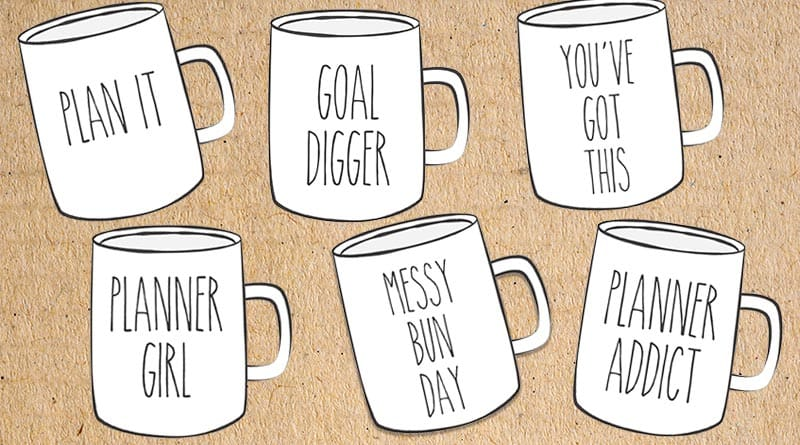 Free Printable Mugs Planner Die Cuts - Rae Dunn Inspired