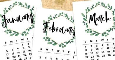 Free Printable 2020 Monthly Calendar - Eucalyptus Wreath