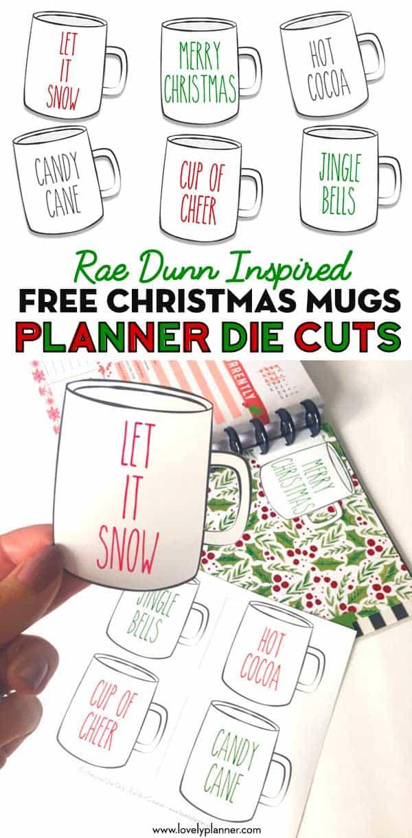 free printable rae dunn planner die cuts christmas mugs