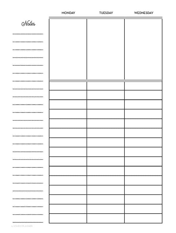 free printable lined vertical happy planner layout