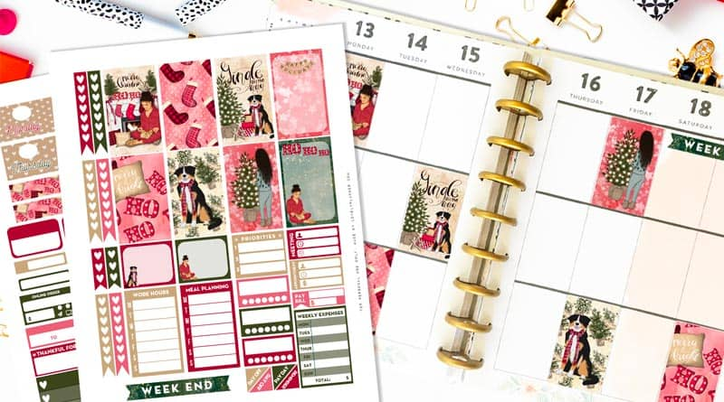 Free Printable Girly Christmas Planner Stickers Weekly Kit