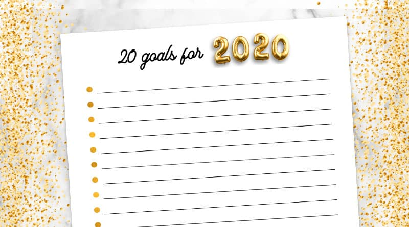 free printable 20 goals for 2020