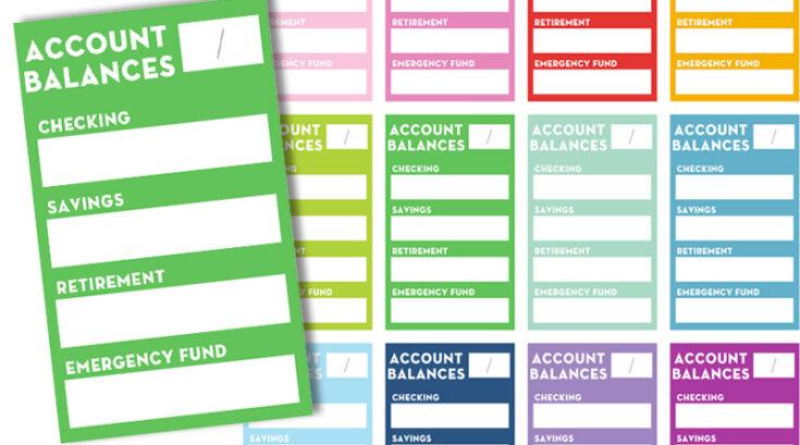 Free Printable Account Balances Planner Stickers