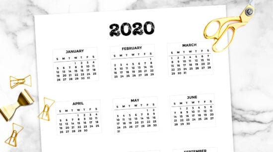 Free Printable 2020 Bullet Journal Mini Calendars